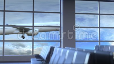 Aterrizaje de aeroplano comercial en el aeropuerto internacional de Richmond El viajar a la introducción conceptual de Estados Un almacen de metraje de vídeo