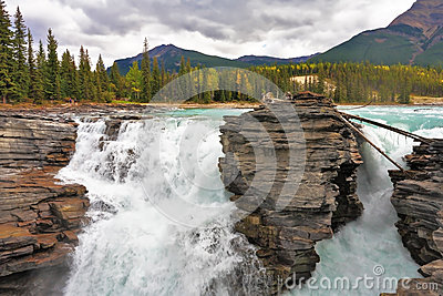 The Athabasca Falls in the Rocky Mountains