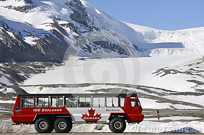 Athabasca glacier, Ice Explorer bus Editorial Photo