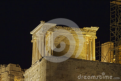 Athena Nike temple illuminated