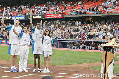 Athens 2004 Olympic Torch Relay Celebration - Dodger Stadium Editorial Image