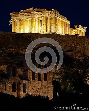 Free Athens Acropolis Parthenon Night View Royalty Free Stock Photo - 14789185