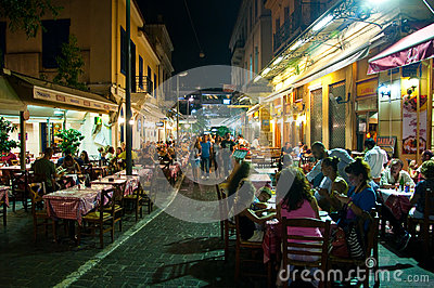 ATHENS-AUGUST 22: Street with various restaurants and bars on Plaka area, near to Monastiraki Square on August 22, 2014 in Athens,