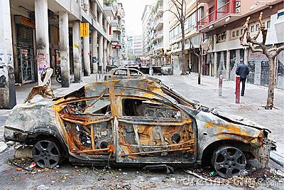 Athens Burnt Cars Barricade Editorial Photo
