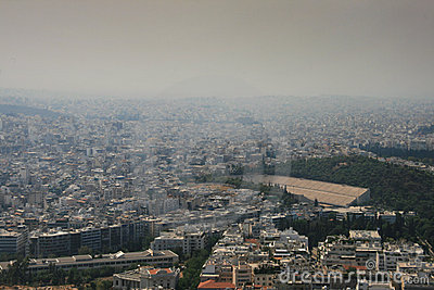 Athens covered in smoke Editorial Stock Image