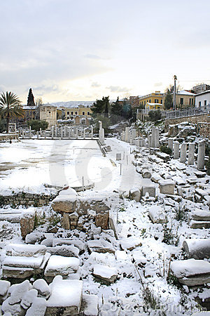Athens, Greece - The Ancient Roman Agora in Snow
