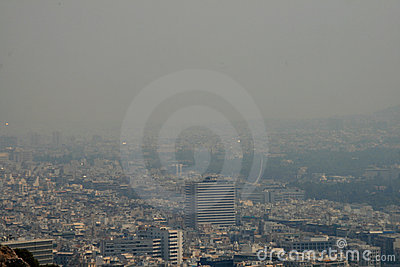 Athens Greece covered in Smoke Editorial Stock Image
