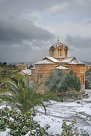 Athens, Greece - Greek orthodox church in snow Editorial Photography