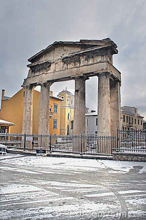 Athens, Greece - The Roman Forum entrance in snow Editorial Photo
