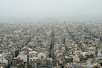 Athens, Greece - Sahara dust covers the city Editorial Photo
