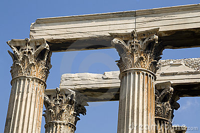 Athens - Greek corinthian capitals topped by linte