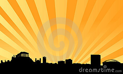 Athens skyline vector background