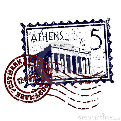 Athens stamp or postmark style grunge
