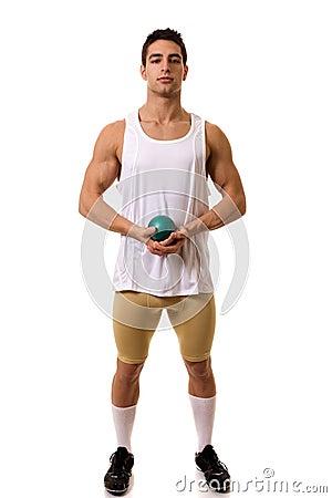 Athlet mit Schuß
