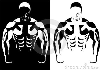Athlete on the black and white background
