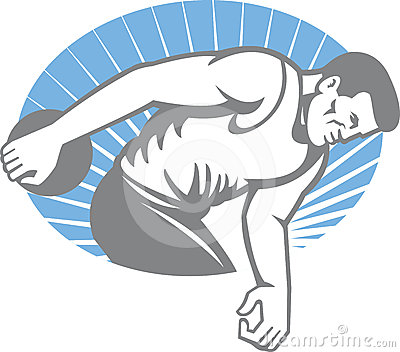 Athlete Discus Throw Retro