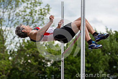 Athlete in high jump