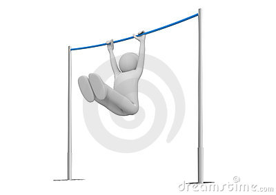 Athlete on horizontal bar