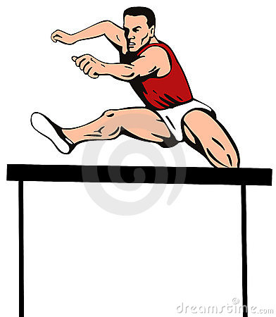 Athlete jumping the hurdle