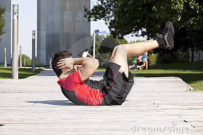 Athlete man making abdominals