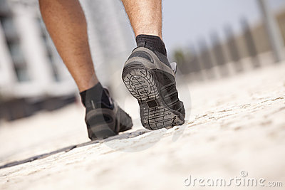 Athlete man shoes walking