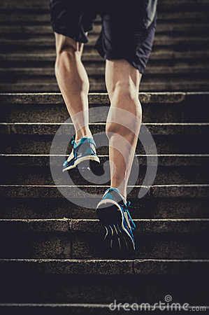 Free Athlete Man With Strong Leg Muscles Training And Running Urban City Staircase In Sport Fitness And Healthy Lifestyle Concept Stock Photo - 53584470