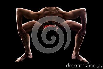 Athlete men and yoga