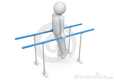 Athlete on the parallel bars
