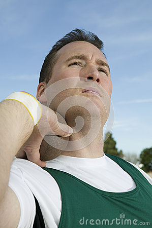 Athlete Ready To Throw Shot Put