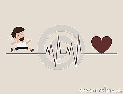 Athlete running with cardiogram symbol