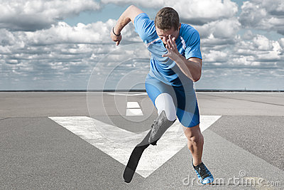 Athlete running runway Stock Photo