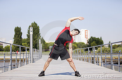 Athlete warming and stretching