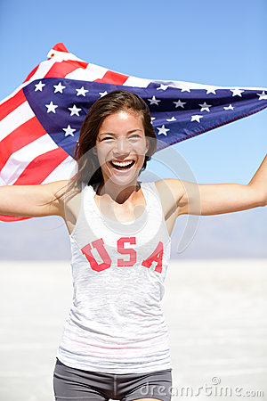 Athlete woman with american flag and USA t-shirt