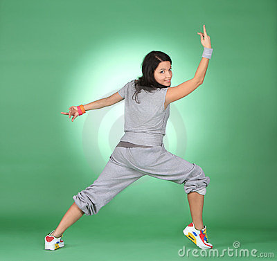 athlete woman doing fitness exercise.
