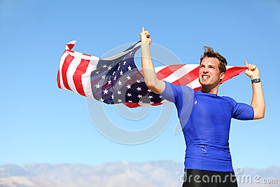 Athlete young man with the American flag