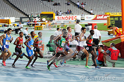 Athletes compete in the 1500 meters final Editorial Stock Image