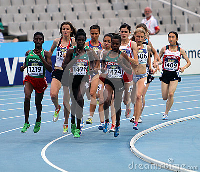 Athletes compete in the 1500 metres final Editorial Image
