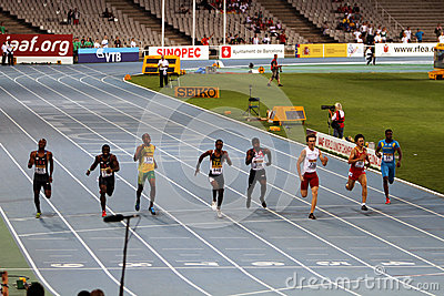 Athletes compete in 200 final Editorial Stock Image