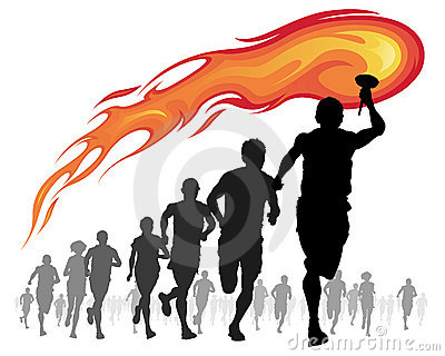 Athletes with flaming torch.
