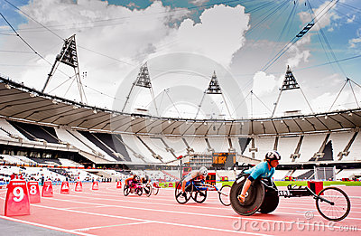 Athletes in the London olympic stadium Editorial Stock Photo