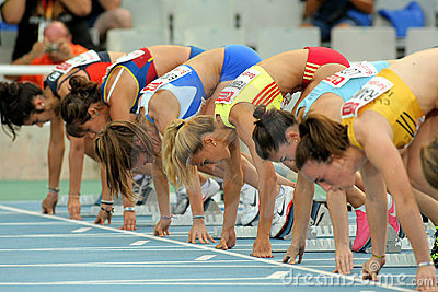 Athletes ready on the start of 100m Editorial Stock Photo