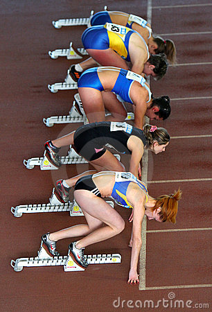 Athletes on the start Editorial Stock Image