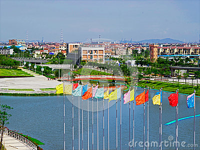 Athletes Village flags Editorial Photography