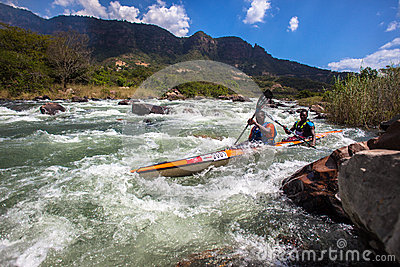 Athletes Water Rapids Canoe Race Editorial Photography