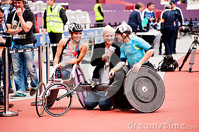 Athletes on wheelchairs inteviewed Editorial Stock Image