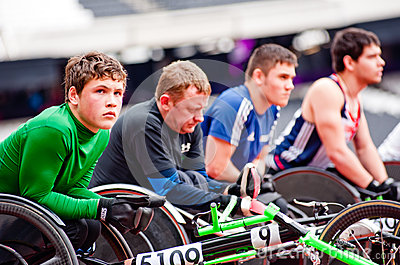 Athletes on wheelchairs in London 2012 stadium Editorial Photo