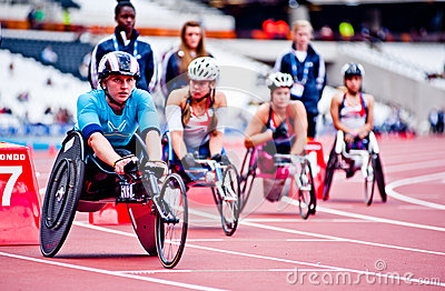 Athletes on wheelchairs in the olympic stadium Editorial Image
