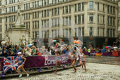 Athletes in the Women s Olympic Marathon 2012 Editorial Photography