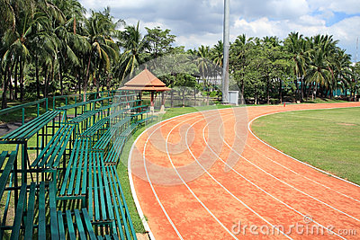 Athletic curved running track