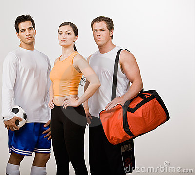 Athletic friends in sportswear